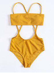Women Solid Color Split Sling Swimsuit Set -