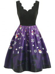 Christmas Set Petal Collar Positioning Print Vintage Skirt -