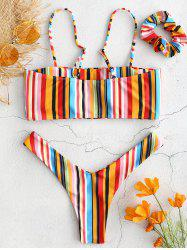 Fashion Color Stripes with Hair Band Detachable Tube Top High Cut Swimsuit -