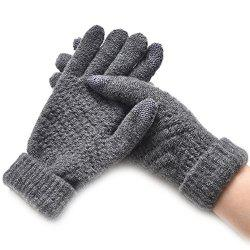 Winter Plus Velvet Thickened Anti-needle Jacquard Touch Screen Gloves -