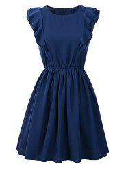 Round Neck Ruffled Sleeveless Solid Color Mini Dress -
