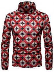 Men's Bottoming Shirt Square Plaid Thick Warm High Collar -