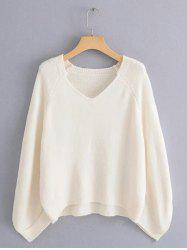 Lazy Wind Sweater Large Sleeve Cage V-neck Loose Pullover Sweater -