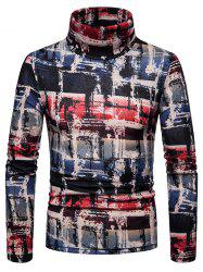 Men's Shirt Old Graffiti Plaid Thick Warm High Collar -