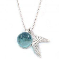 Blue Crystal Fishtail Silver Necklace -