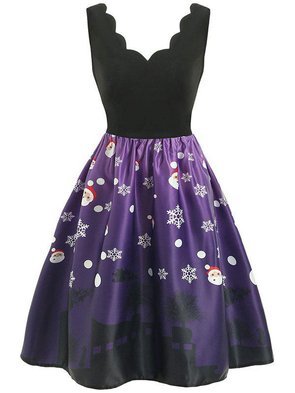 Discount Christmas Set Petal Collar Positioning Print Vintage Skirt