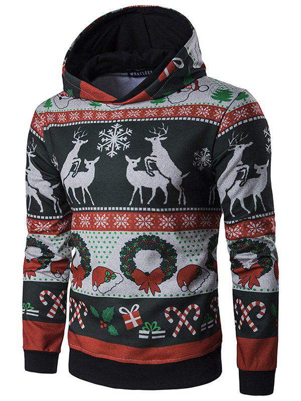 Affordable Men's Personality Hooded Striped Christmas Elk Print Pullover Hoodie