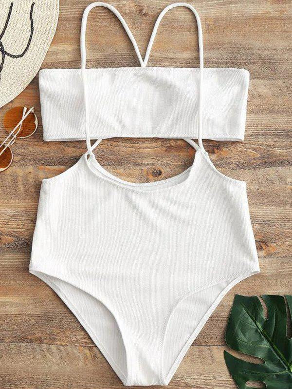 Chic Women Solid Color Split Sling Swimsuit Set