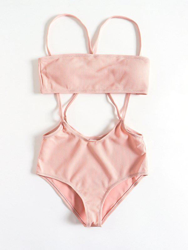 New Women Solid Color Split Sling Swimsuit Set