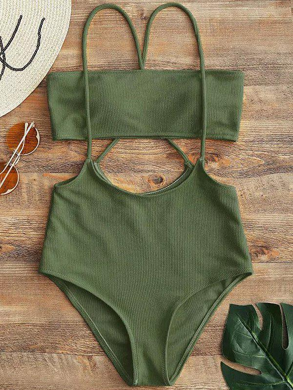 Latest Women Solid Color Split Sling Swimsuit Set