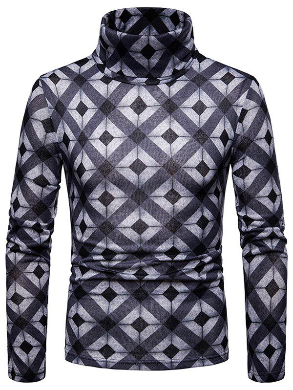 Online Men's Bottoming Shirt Square Plaid Thick Warm High Collar