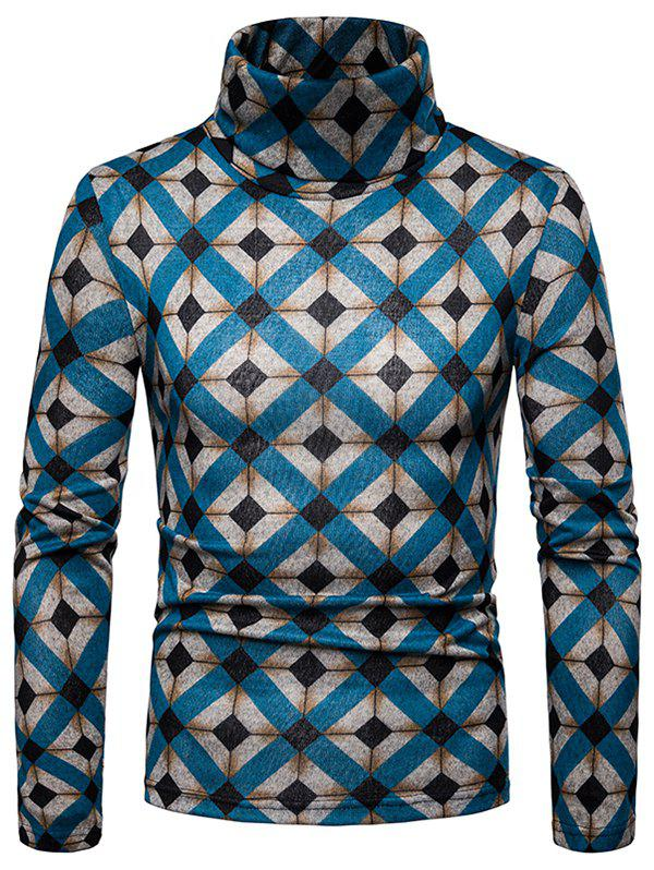 Best Men's Bottoming Shirt Square Plaid Thick Warm High Collar