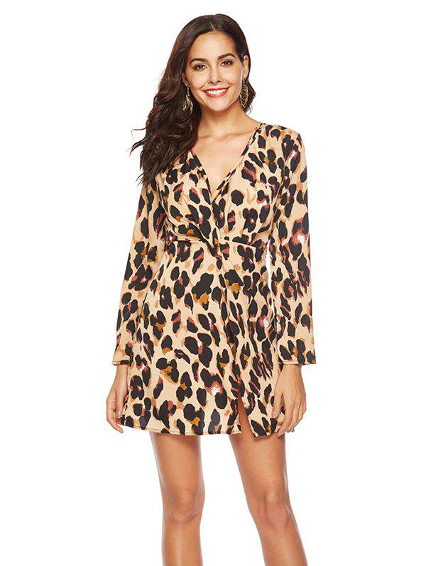 Cheap Leopard Sexy Knotted Dress