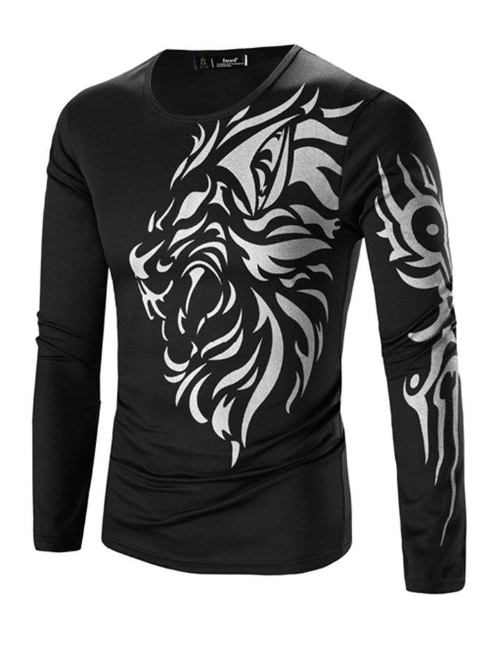 Unique Printing Men's Long-sleeved Quick-drying Casual T-shirt