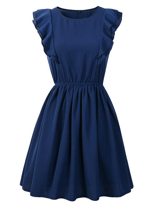 Online Round Neck Ruffled Sleeveless Solid Color Mini Dress