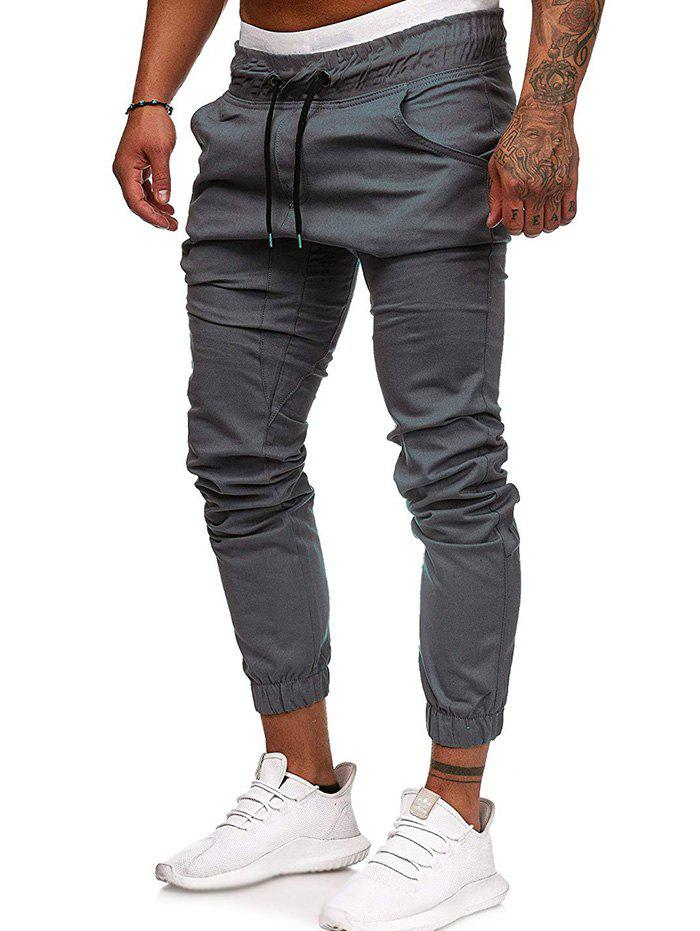 Affordable Men Large Size Solid Color Casual Beam Pants Fashion Loose