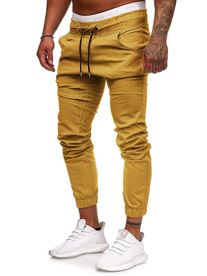 Hot Men Large Size Solid Color Casual Beam Pants Fashion Loose