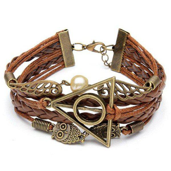 Online Antique Owl Wings Triangle Pearl Multilayer Woven Leather Bracelet