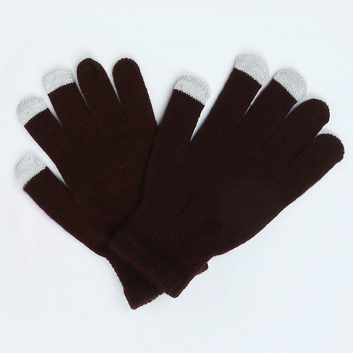 Online Warmth Thickening Solid Color Touch Screen Gloves