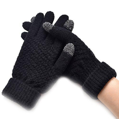 Outfit Winter Plus Velvet Thickened Anti-needle Jacquard Touch Screen Gloves