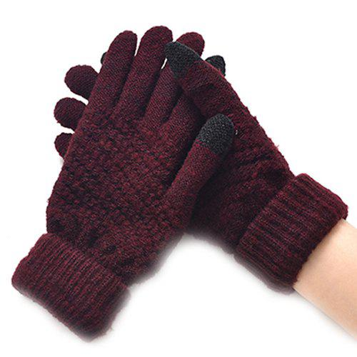 Shops Winter Plus Velvet Thickened Anti-needle Jacquard Touch Screen Gloves