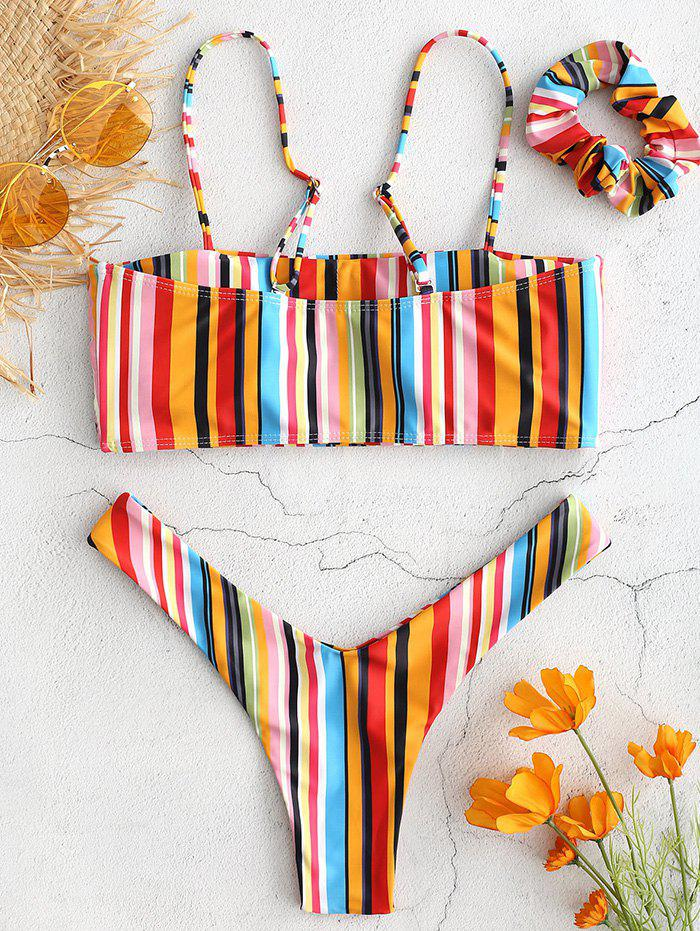 Affordable Fashion Color Stripes with Hair Band Detachable Tube Top High Cut Swimsuit