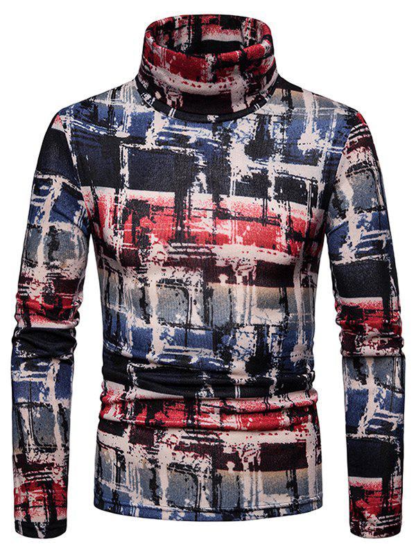 Chic Men's Shirt Old Graffiti Plaid Thick Warm High Collar