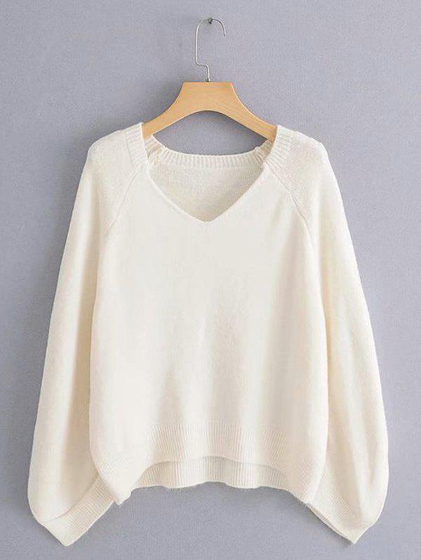 Latest Lazy Wind Sweater Large Sleeve Cage V-neck Loose Pullover Sweater