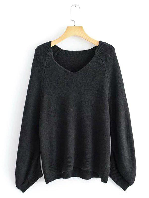 Affordable Lazy Wind Sweater Large Sleeve Cage V-neck Loose Pullover Sweater
