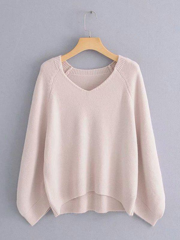 Shops Lazy Wind Sweater Large Sleeve Cage V-neck Loose Pullover Sweater
