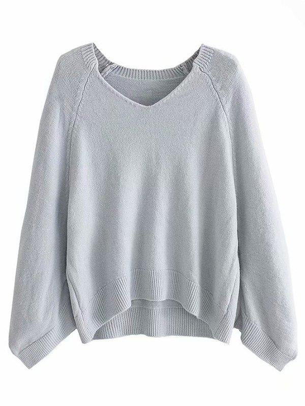 Best Lazy Wind Sweater Large Sleeve Cage V-neck Loose Pullover Sweater