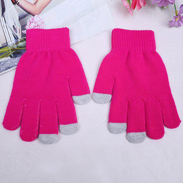 Sale Warmth Thickening Solid Color Touch Screen Gloves