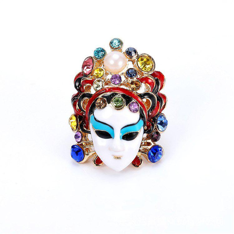 Shop 487 Personality Diamond Chinese Style Peking Opera Mask Ring