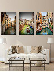 City River Print Unframed Split Canvas Paintings -