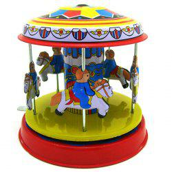 Classic Vintage Clockwork Wind Up Merry-Go-Round Children Tin Toy -