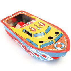 Classic Vintage Clockwork Wind Up Candle Ship Reminiscence Children Tin Toy -
