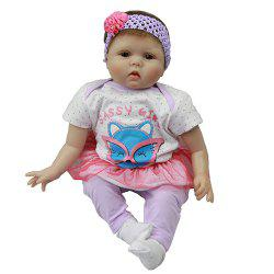 22~23 Inch Simulation Baby Rebirth Doll Purple Fox Hat Cotton Clothes -