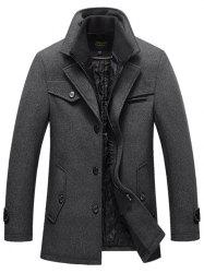 Men's Autumn and Winter Business Casual  Windbreaker Plus Cotton Thick Double Collar Long Wool Coat -