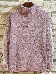 High-neck Loose Embroidery Color Matching Sweater -