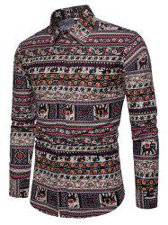 Ethnic Style Men's Wild Color Long Sleeve Shirt -