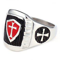 Stainless Steel Knight Red and Black AG Model Male Ring -