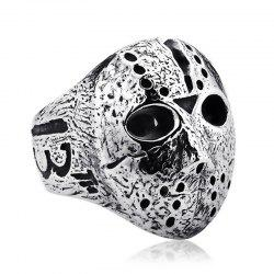 Men's Titanium Steel Pattern Mask Ring -