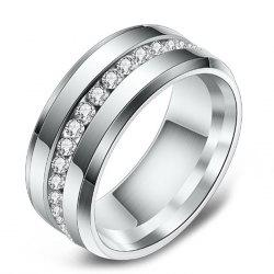 Vacuum Plated Single Row Diamond Stainless Steel Men's Ring -