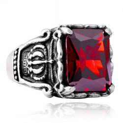 Men's Titanium Steel Inlaid Zircon Crown Ring -