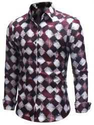 Casual Printed Long-sleeved Shirt European and American Style Slim Shirt -