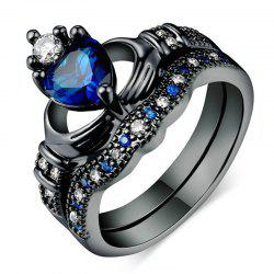 Double-layered Holding Sapphire Heart-shaped Crown Ring -