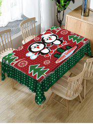 Christmas Tree Penguin Fabric Waterproof Table Cloth -