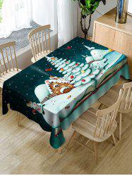 Christmas Tree Snowman Candy Fabric Waterproof Table Cloth -