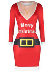 Women 3D Christmas Sexy Tight Skinny Hip Dress -