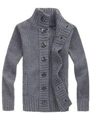 Men's Winter Thickening Casual Stand Collar Cardigan Youth Loose Sweater -